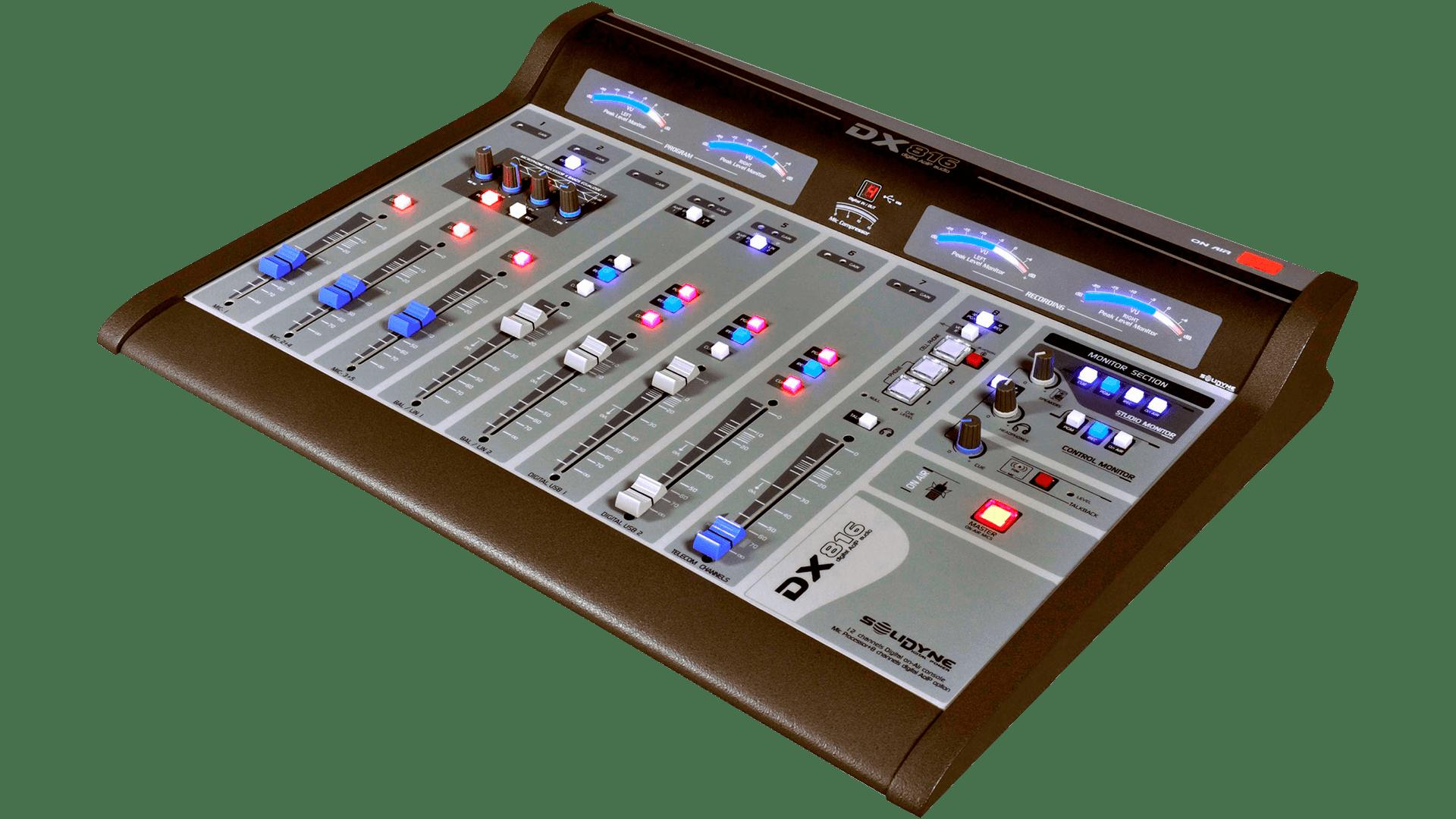 Consola-DX816-Mixer-Streaming-Solidyne-Televisión-Radio-Emisoras-FM-AM-Internet-Virtual-Online-Buena-Imagen-Bogotá-Colombia