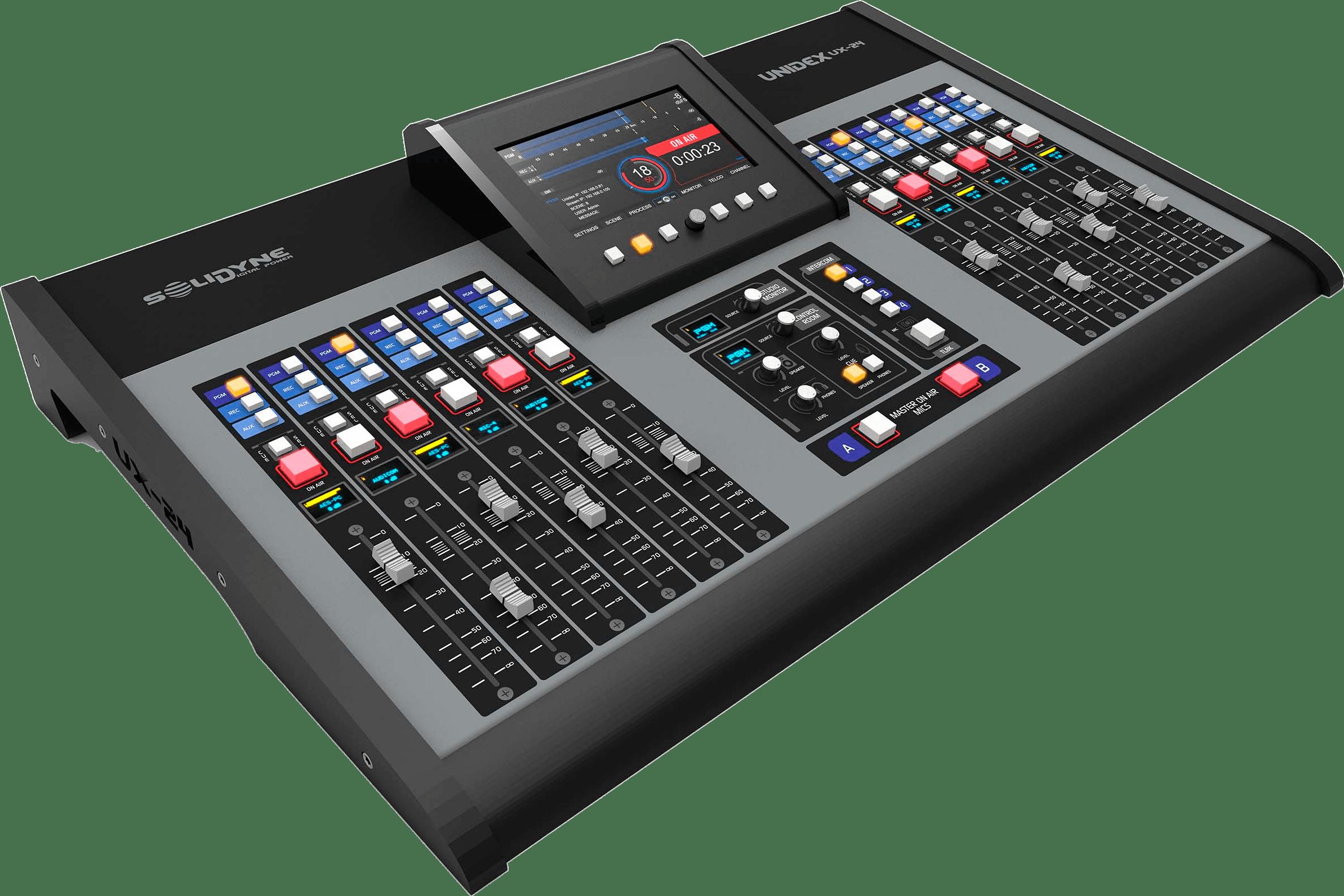 Mixer-Consola-Audio-Digital-Unidex-UX24-Solidyne-Streaming-Televisión-Radio-Emisoras-FM-AM-Internet-Virtual-Online-Buena-Imagen-Bogotá-Colombia